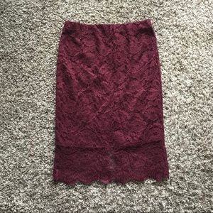 Mossimo NWT Burgundy Lace Skirt size Small